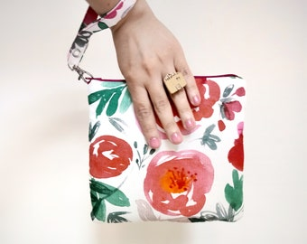 Clutch, hole clutch, printed cotton and jute