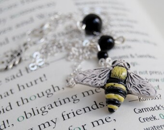 Large Bumble Bee Necklace   Cute Honey Bee Necklace   Bee Insect Charm Necklace