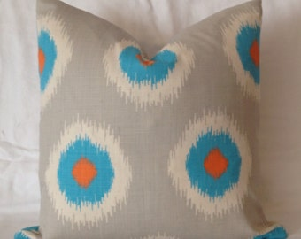 Couch Pillows, Turquoise Throw Pillows, Orange Throw Pillows, Ikat, Accent Pillows, Home Decor, Zippered Pillow, Bedroom Decor