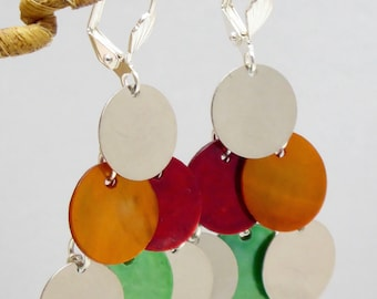 """Plated Silver earrings 925 """"Arai"""" multicolored sequins of natural Pearl."""