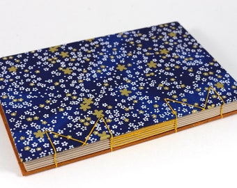 A5 Gold Starry Night Floral Japanese Washi Handbound Hardcover Coptic Journal Sketchbook Notebook - dotted writing paper