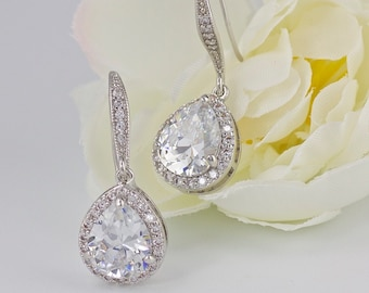 Bridal Earrings, Teardrop Crystal Earrings, Bridal Jewelry, Wedding Jewelry, Bridesmaid Jewelry TAMARA