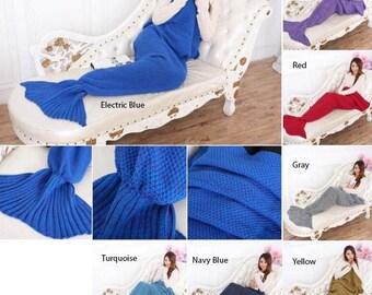 Mermaid Fishtail Blanket - Blues / Purple / Red / Yellow / Gray