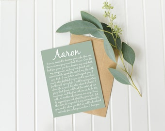 vœux de mariage de calligraphie - cadeau d'anniversaire 12 - Noël unique cadeau cadeau de fiançailles - renouvellement de vœux - - un homme heureux