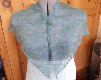 Mohair shawl/wrap with beaded edging