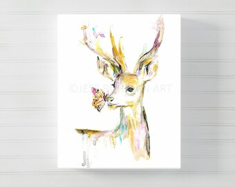 Stay Golden Deer Canvas Art, Canvas Deer Art, Watercolor Deer on Canvas, Deer Painting, Buck Print, Watercolor buck, Gold and pink painting