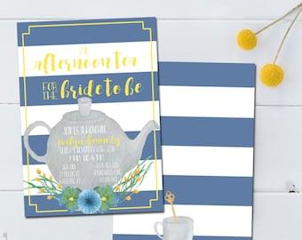 Tea Bridal Shower Invitation, Afternoon Tea Bridal Shower Invite, Tea Time Bridal Shower Invitation, Afternoon Tea for the Bride to Be