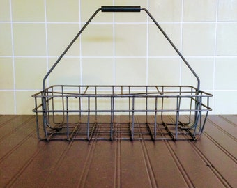 Vintage Metal Milk Bottle Carrier Metal Basket Black Handle Milk Bottle Caddy