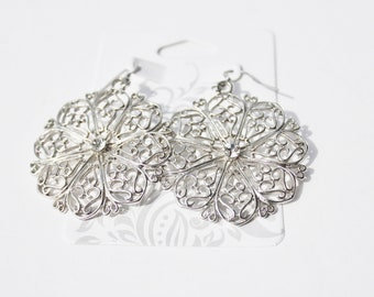 Round Stainless Steel Earrings with Crystal Accent