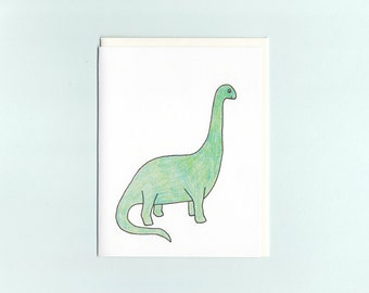 Dinosaur greeting card- hand drawn and hand-colored by Michelle Lin