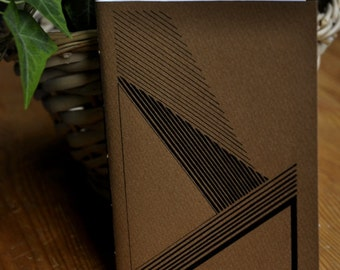 Carnet - motifs graphiques lignes/triangles - fait et relié à la main - 40 pages