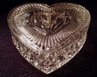 Heart Shaped Glass Trinket Box or Candy Dish, Large nearly 7 inches wide and long, Glass