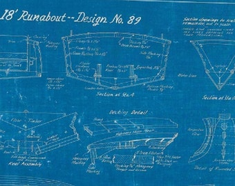 runabout speed boat blue print collage sheets