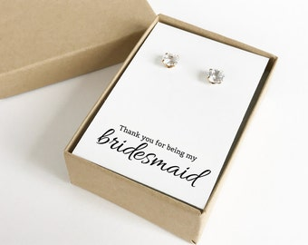 Thank You For Being My Bridesmaid Jewelry Boxes | Gift Boxes | Jewelry Boxes | Bridesmaid Gifts (Earrings not Included) | SJBS1