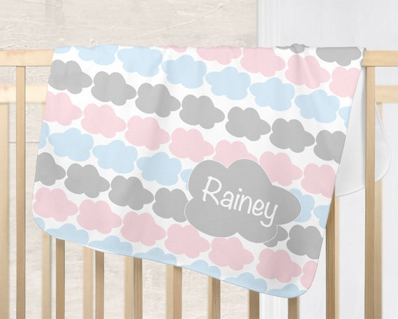 Cloud Nursery Blanket in Pink, Blue and Gray