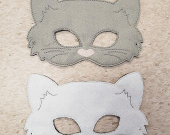 Cat Felt Mask, Pretend Play, Dress-up, White, Grey or Black