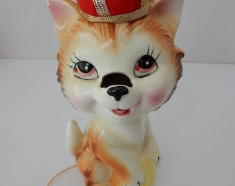 Ceramic Anthropomorphic Cat Tape Measure Pin Cushion/sewing/kitschy/pin cushion/tape measure/ sewing accessories/ ceramic/1950s/vintage/cute