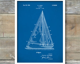 Patent Print, Sailboat Poster, Sailboat Patent, Sailboat Print, Sailboat Art, Sailboat Decor, Sailboat Wall Art, Sailboat Blueprint, P118