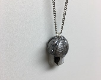 Selenite Black Tourmaline Protection Amulet | Super Crystal Pair | Raw Rough Selenite Pendant Necklace Jewlery | Healing Crystals