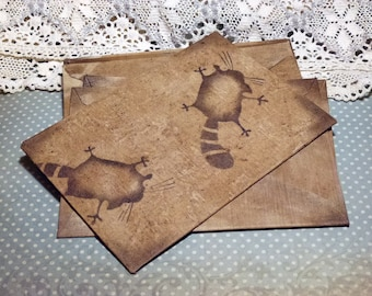 Gift Envelope Valentine's day cat  folk art country style ideas shabby chic fabric envelopes rustic primitive coffee stained