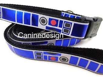 Star Wars Dog Collar and Leash, R2D2, 6ft leash,1 inch wide, adjustable, quick release, metal buckle, chain, martingale, hybrid, nylon