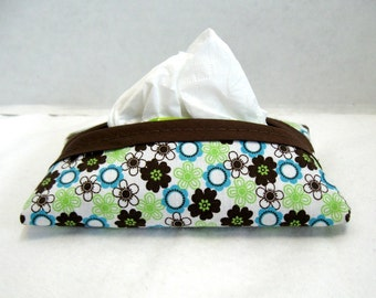 Floral Tissue Holder - Teal Floral Tissue Cozy - Purse Tissue Case - Brown Teal Tiny Flowers - Travel Tissue Cover