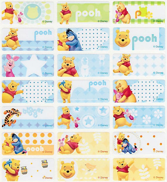 48 96 winnie pooh personalised name label sticker folder 3013mm dishwasher safe labels