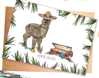 Alpaca Suitcase A6 Greeting Card