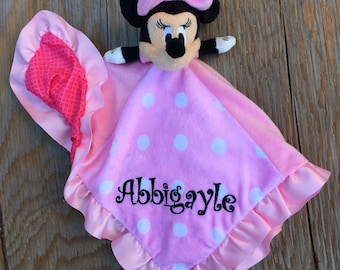 Personalized Soft Disney Minnie Mouse Security Blanket Lovey