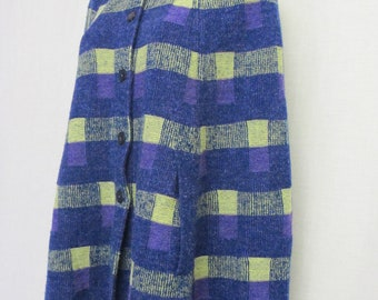 Knit Poncho Plaid Cape Knit Poncho Wrap MOD Poncho 1960's Poncho Carnaby St