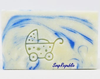SoapRepublic 'Baby cart' 25x22mm Acrylic Soap Stamp / Cookie Stamp / Clay Stamp