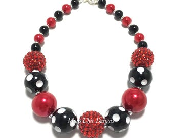 Toddler or Girls Red, Black and White Polkadot Chunky Beaded Necklace - Girls Mouse necklace - Girls Red and Black Necklace - Birthday