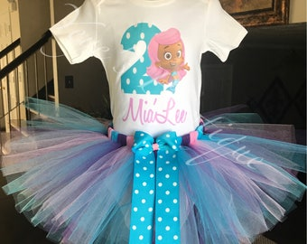 Bubble Guppies Birthday Tutu Outfit | Molly Birthday Tutu | 1st 2nd 3rd 4th 5th | Personalized Birthday Outfit