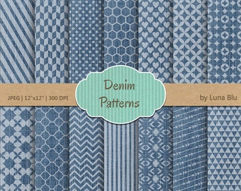 "Denim Digital Paper pack: ""Denim Patterns"" for personal and commercial use, denim textures, blue jeans, patterned paper"