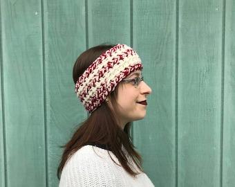 Ready to ship crochet red and white headband, reversible head warmer, crochet ear warmer, Christmas headband, crochet chunky headband