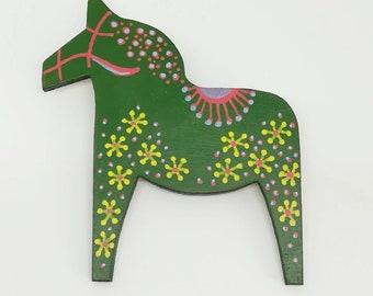 Hand painted mid century modern scandinavian style dala horse statement brooch in green