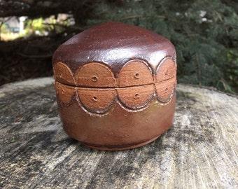 Ceramic Lidded Jar, Pottery Stash Keeper in Malcolm Davis Shino
