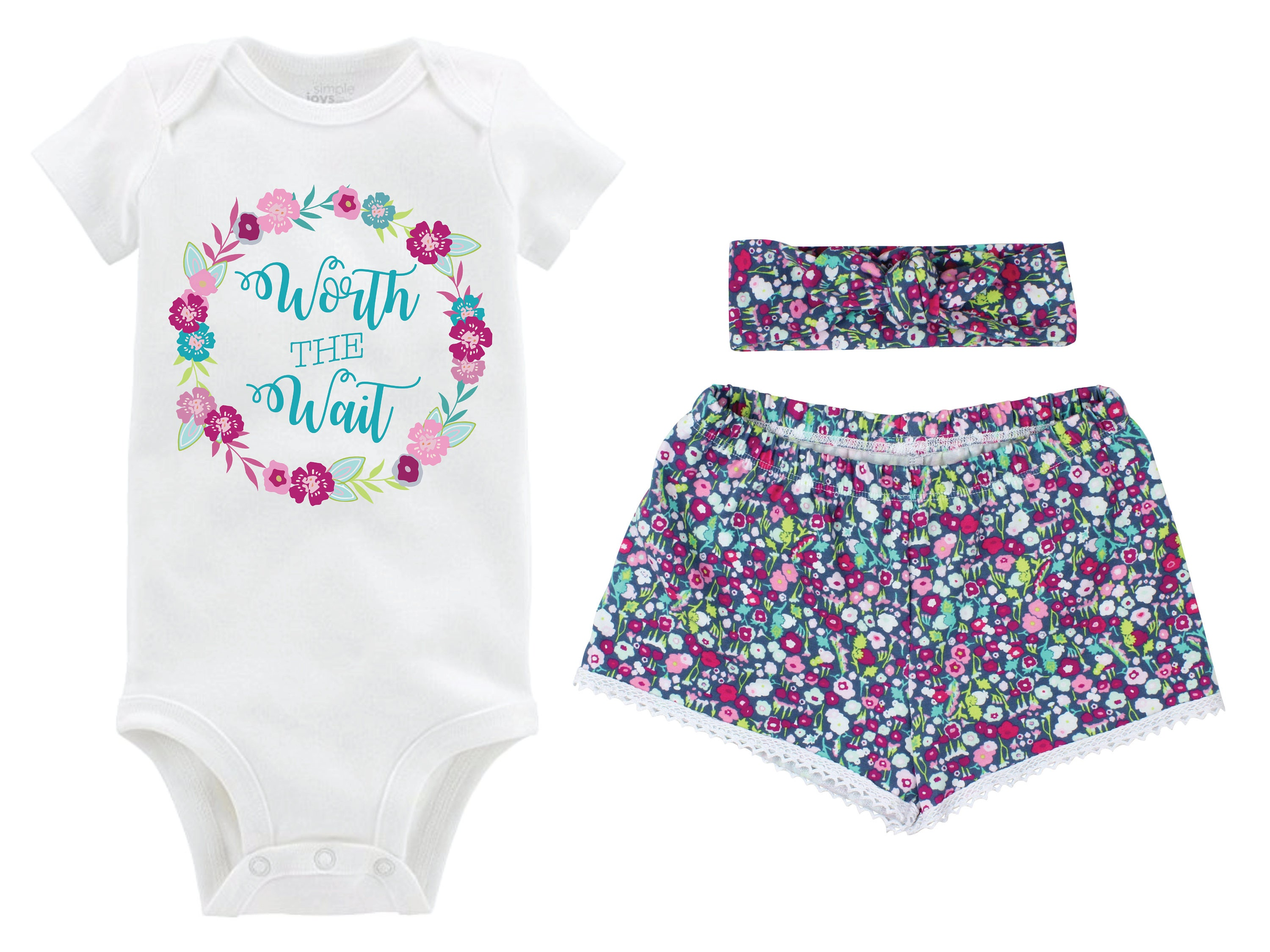 c8d9ffc8b7e5 Worth the Wait Onesie Floral Girl Outfit Going Home Outfit Shorts Outfit ...