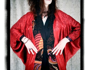 Long Art Deco Red Silk Batwing Sleeved Cocoon - Kimono Robe by Kambriel - Brand New & Ready to Ship!