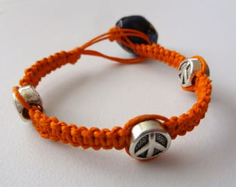 All Natural Orange Hemp Bracelet w/ Peace Sign Charms