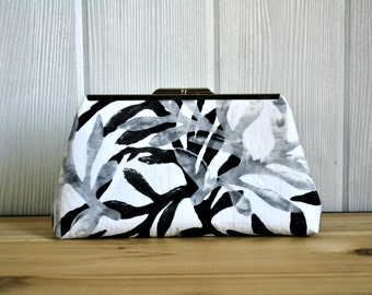 Handcrafted Evening Clutch with Nickel Frame (Black/Gray/White Batik)