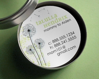 Dandelion - 50 CUSTOMIZABLE Round Calling Cards/ Business Cards/ Tags in Tin