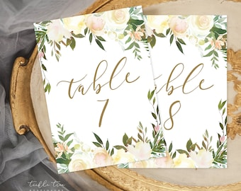 Table Number Cards - White Summer (Style 13816)