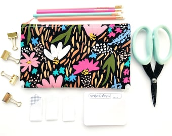 Floral Zipper Pouch, Modern Bloom Pencil Case, Flower Pencil Pouch, Floral Cosmetic Bag, Gift bag, Midnight Garden Cosmetic pouch