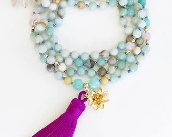 Amazonite Mala, Knotted Mala Necklace, Mala Beads, Amazonite Necklace, Knotted Mala, Prayer Beads, Mala Necklace, Tassel Necklace, MKAP8