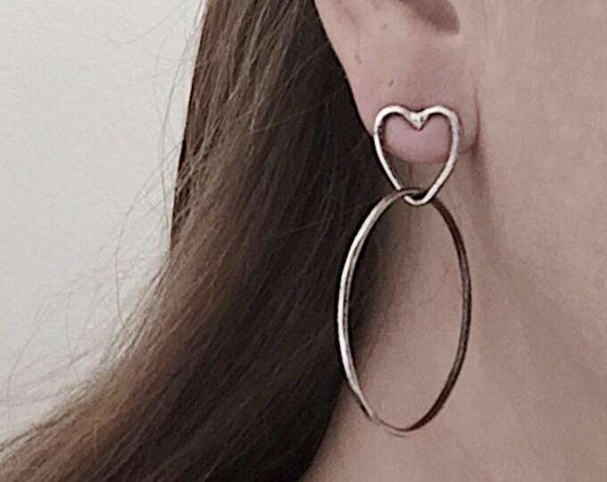 Heart Stud Hoop Earrings