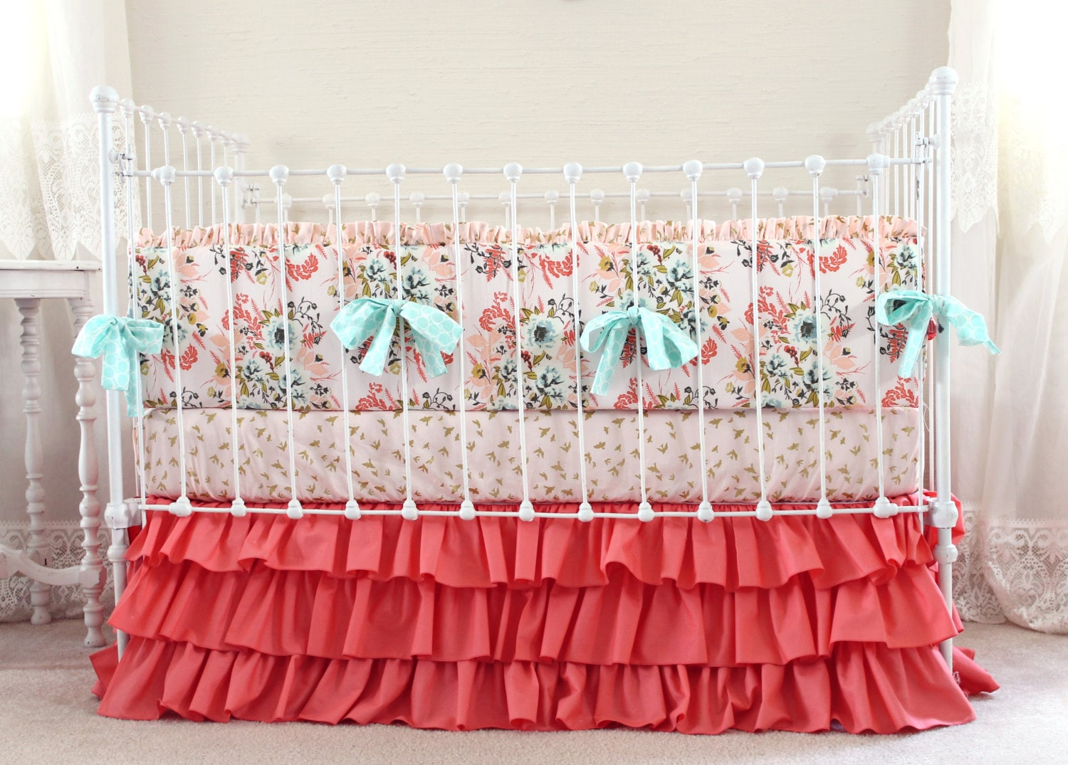 coral pin floral baby cribs navy sheets carouseldesigns and crib bedding