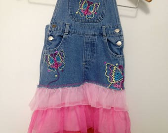 Butterflies n' Tulle Refashioned bib-overalls