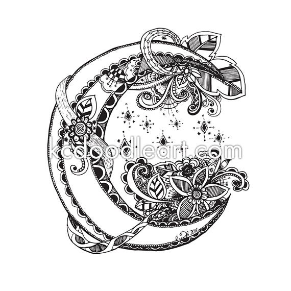 Instant Download Adult Coloring Page Half Moon Doodle