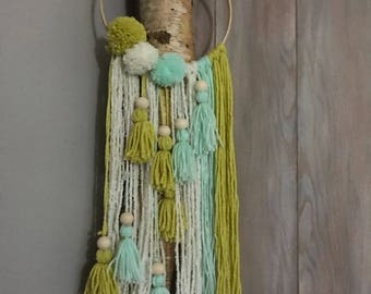 Dream catcher white, green and yellow wool